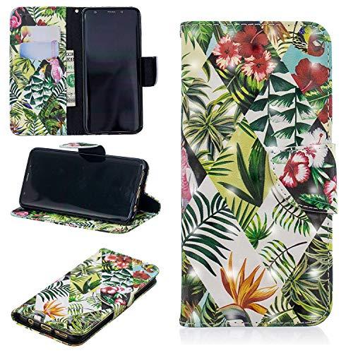 Ostop Brieftasche Hülle für Samsung Galaxy S9,3D Niedlich Muster Leder Handyhülle Kartenfach Standfunktion Schutzhülle Magnetisch Flip Abdeckung,Grün Blätter Rot Blume