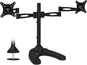 Mount-It! Free Standing Dual Monitor Stand | Double Arm Desk Mount Fits Two x 21 24 27 Inch Computer Screens | 2 Heavy Duty Full Motion Adjustable Arms | VESA 75 100 Compatible | Grommet Base Included