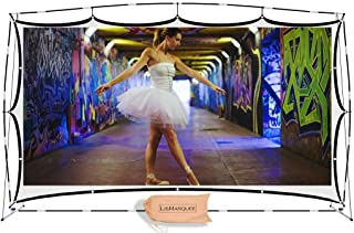 LisMarquee 150 Inch Front/Rear Projection Indoor/Outdoor Home Theatre No-Wrinkle Portable Projector Screen with Stand and FITS-INTO-A-Back-Pack