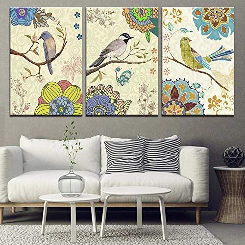 XKLDP Acuarela Rama pájaros Pared Arte Lienzo Pintura Animal Cartel Impresiones imágenes decoración del hogar-50x70cmx3 Piezas sin Marco