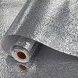 HHYSPA Kitchen Backsplash Sticker, Thicker Aluminum Foil Kitchen Cupboard Sticker Waterproof Selfadhesive Wallpaper, for Walls Home Furniture Tables Drawers (Orange Peel Surface)