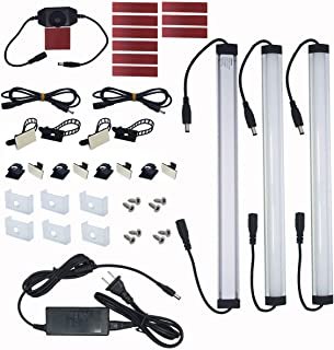 Litever Under Cabinet LED Light Bar Kits Plug in 3 pcs 12 inches Light Bars per Set Warm..