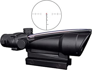 CTOPTIC Scope Rifle Scope 5X35 Red Chevron Reticle Scope Optic Sight Dual Illuminated Real Red Fiber with Mount Black