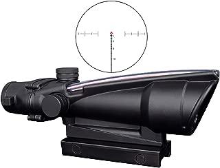 CTOPTIC Scope Rifle Scope 5X35 Red Chevron Reticle Scope Optic Sight Dual Illuminated Real Red Fiber with Mount Black