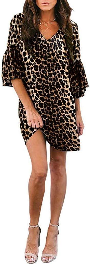 Sunnywill Kleider Damen V Ausschnitt halbe Flare /Ärmel Schlange gedruckt Party Strandkleid
