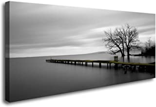 DZL Art S74950 Canvas Prints Modern Minimalist Black and White Lake Trees Landscape Wall Art Painting for Living Room Bedr...