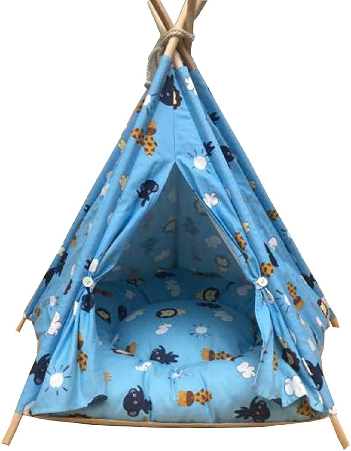 Pet Tent with Mat Wooden Dog House Pet Bed Cat Bed Indoors Removable and Washable For Small And Medium Pet (color   C, Size   40X40X50CM)