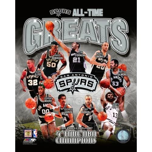 San Antonio Spurs All Time Greats - 4X NBA Champions Composite Photo 8x10