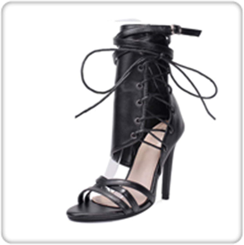 GLOPY& Sexy Gladiator Women Pumps High Heels Peep Toe Lace up Cross-tie High Heels