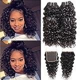 Brésilienne 10A Vague 4 Bundles Avec Fermeture de Lacet Cheveux Vierges UnprocessEd Armure Extensions de Cheveux Humides pour Femmes Noires Couleur Naturelle (8 8 8 8 + 8)