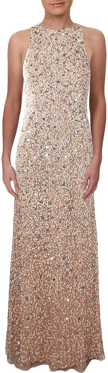 Adrianna Papell Women's Sleevless Beaded Long Halter Gown