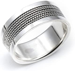 Silverly 男女款式 925纯银 巴厘岛绳编造型 宽9mm戒指指环