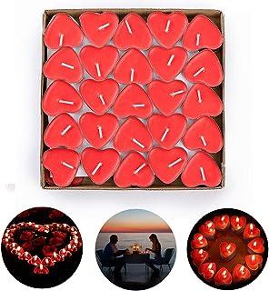 ASANMU Romántico de Velas, Velas en Forma de Corazón Rojo Romántica 2 Horas de duración Paquete de 50 Piezas Sin Humo Romántica Día de San Valentín, Boda, Aniversarios y Compromiso para Decoración