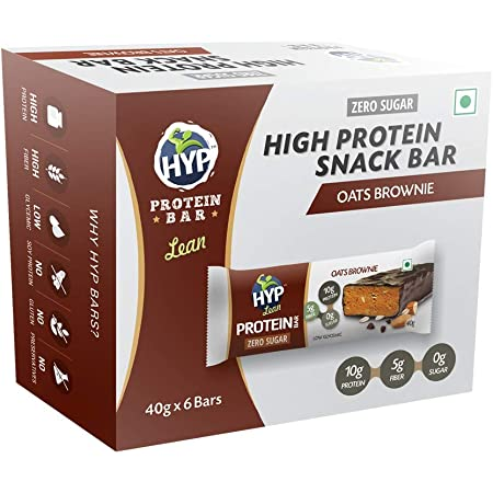 HYP LEAN - Sugarfree Protein Bar - Pack of 6 (Oats Brownie)