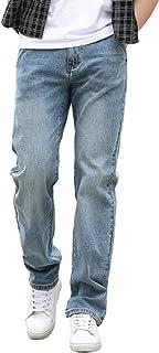 Heren klassieke rechte pijpen Regular fit stijlvolle denim jeans elastische halfhoge losse casual comfortabele broek