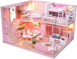 Fsolis DIY Dollhouse Miniature Kit with Furniture, 3D Wooden Miniature House with Dust Cover and Music Movement, Miniature...