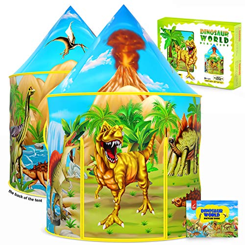 Dinosaur Kids Tent with Dinosaur Drawing Book, Pop Up Play Tent for Kids, Extraordinary Dinosaur Toys & Gifts for Kids Boys & Girls, Playhouse for Children Indoor and Outdoor Games (Dinosaur Tent)