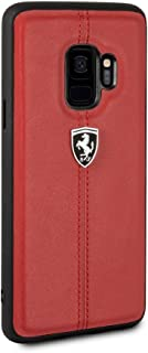 CG Mobile Ferrari Genuine Leather Case for Samsung Galaxy S9 Hard Cell Phone Cover Slim Fit Red with Contrasting Red Stitching finishes Easy Snap-on Shock Absorption Cover Officially Licensed.