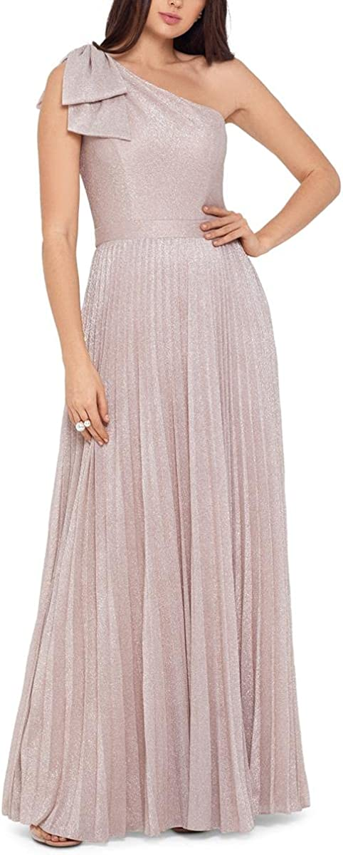 Xscape Womens Glitter Pleated Evening Dress Pink