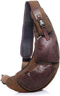 Vintage Sling Mochilas Sling Chest Bag Bandolera Bandolera Bolsas de hombro para hombres y mujeres, Mochila al aire libre,...