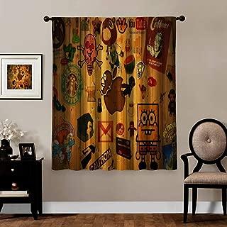 Clare Moulton Curtains Blackout,Thermal Insulated,Grommet, Living Room/Bedroom Window Drapes 2 Panel Set,Curtain,Logo Spongebob Squarepants Smurfs Domo,White,Wide55 xLong63