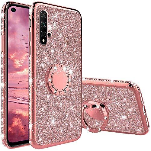 XTCASE Hülle für Huawei Nova 5T / Honor 20, Glitzer Bling Glänzend Strass Diamant Handyhülle mit 360 Grad Ring Ständer Superdünn Stoßfest TPU Silikon Tasche Schutzhülle - Rosé Gold