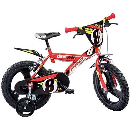 """Dino Bikes 143 GLN bicicletta 14"""" serie 23 con rotelle e doppio freno per bambini dai 4 ai 7 anni"""