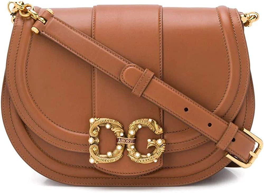 dolce & gabbana luxury fashion,borsa a spalla per donna,in vera pelle,con logo in vista bb6826ak2958m308