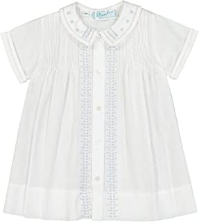 Feltman Brothers Boys Baptism Christening Leaf Daygown (Newborn) White/Blue