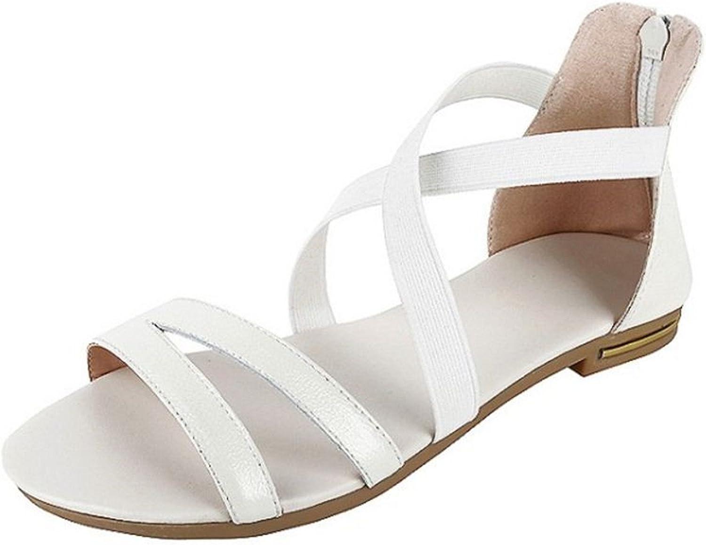 Nerefy Women Flats Sandals Open Toe Real Leather Ankle Zipper Sandals Summer Classics Women Footwear