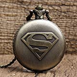 exciting Lives Vintage Pocket Watch with Chain Superman