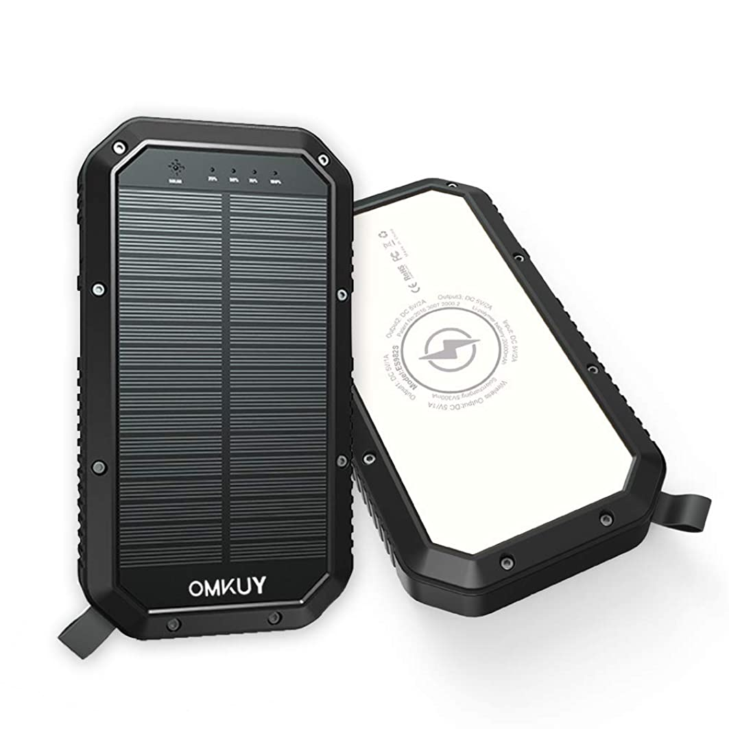 数値懲らしめ進化モバイルバッテリー ソーラーチャージャー 置くだけ充電 (20000mAh 大容量 ワイヤレス Qi充電器 24LEDランタン照明 無線 急速充電 3USBポート 高輝度LEDライト 3台同時充電 残量表示) ソーラーパネル 防災グッズ 旅行/キャンプ/地震/災害/アウトドアなどに大活躍 iPhone/Android対応