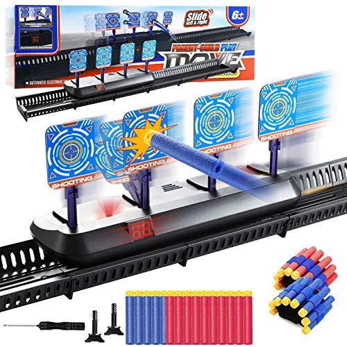 Vintoney elektrische Zielscheibe für nerf, Digitales Zielgerät Automatisches Pistole mit 20 Stück Pfeile und 2 Stück Handgelenkband, Auto Reset Elektro-Schießzielspielzeug für Kinder Geschenk