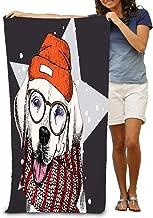 AXTUXDELL Toallas de baño Retrato de perro labrador retriever con gafas y bufanda Beanie Star Snow Ske Toallas de playa 31.5