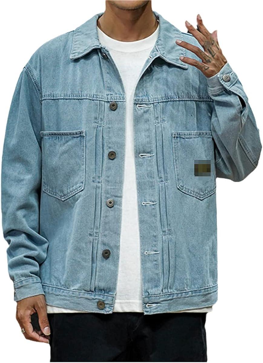 Japanese Style Men's Jeans Jacket Black Hip-Hop Street Style Cool Men's Jacket Plus Size Bomber Jacket