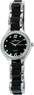Women Fashion Casual Two-Tone Stainless Steel Waterproof Wristwatch with Diamond Watch Surface