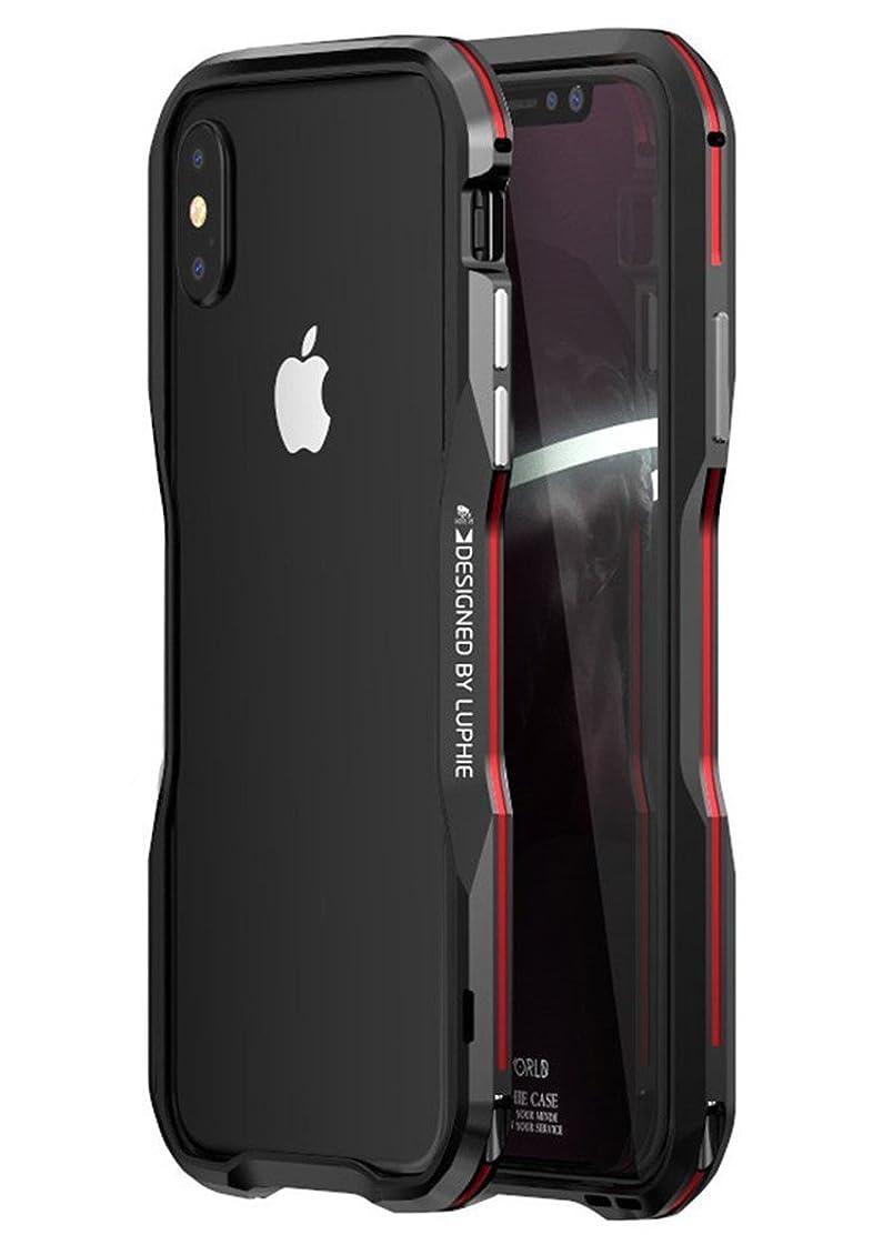OURJOY iPhone Xs ケース iPhoneX ケース バンパー ストラップホール付き 航空宇宙 アルミ メタル バンパー【背面 強化 ガラス フィルム 付き】EVA緩衝綿付き 耐衝撃 アイフォンX / Xs ケース (iPhone X/Xs, ブラック+レッド)