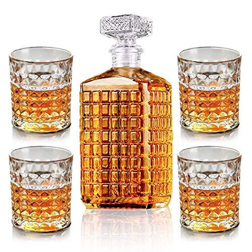 New rui cheng Vaso de Vino de Whisky 1 Botella de 17oz + 4 Vasos de Whisky de 9,8 oz Decantadores de Licor Set Jarra de Grabado para el Regalo del Día del Padre de Bourbon