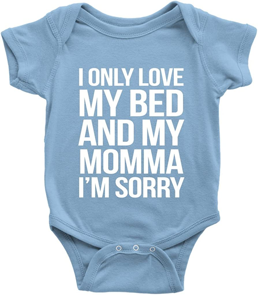 Baby Onesie\u00a9 I Only Love My Bed And My Mama I/'m Sorry Hip Hop Rap Hipster Music Funny Baby Shower Gift Funny Baby Clothing Gerber