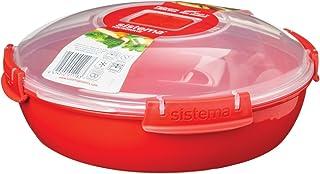 Sistema Microwave - Plato con Tapa para microondas, 21 cm de diámetro, Color Rojo