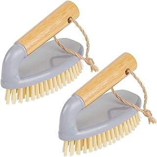 mDesign Juego de 2 cepillos para limpiar de bambú – Práctico cepillo manual para limpiar el cuarto de baño, el garaje o el lavadero – Cepillo de madera con mango – gris/natural