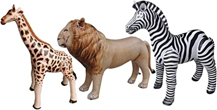 Jet Creations 3 pack Giraffe Zebra Lion safari Great for pool, party decoration, AN-GZL
