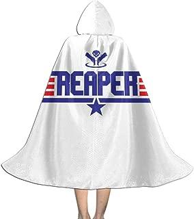 Topgun Reaper Ov-erwatch Unisex Kids Hooded Cloak Cape Halloween Christmas Party Decoration Role Cosplay Costumes Outwear Black