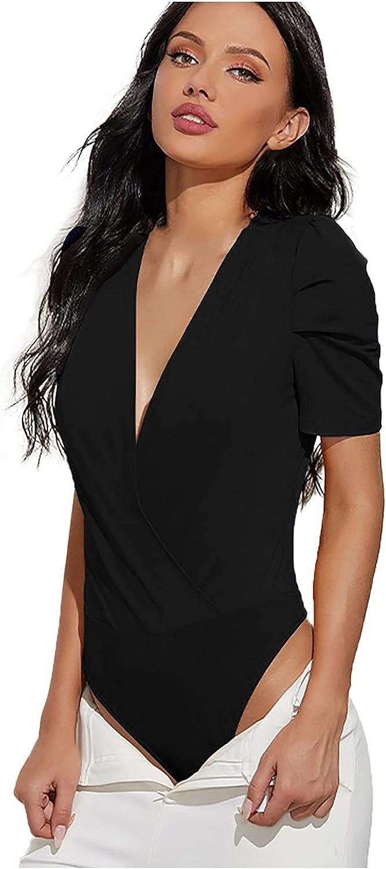 IAKA Women's Fashion V- Neck Solid Sexy Summer Sling Short Sleeve Bodysuit
