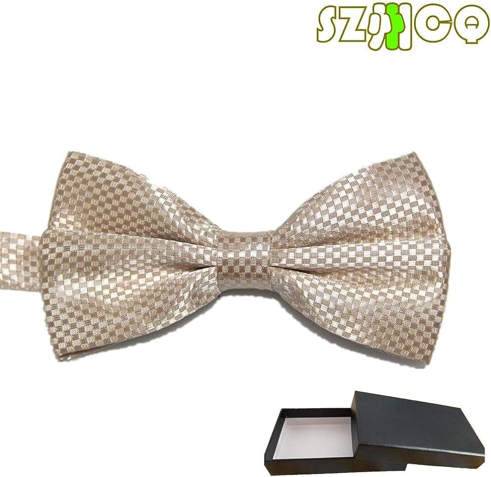 SZCQ Bowtie For Men Plaid Polyester Bow Tie Checks Pre-tie Butterfly Cravat Box Gift