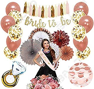 Rose Gold Bridal Shower Decorations 37PCS bachelorette gifts Bride To Be Banner,Sash,Tassel,12inch Rose Gold Confetti balloons bachelorette party supplies (Bride to be GOLD GLITTER BANNER)