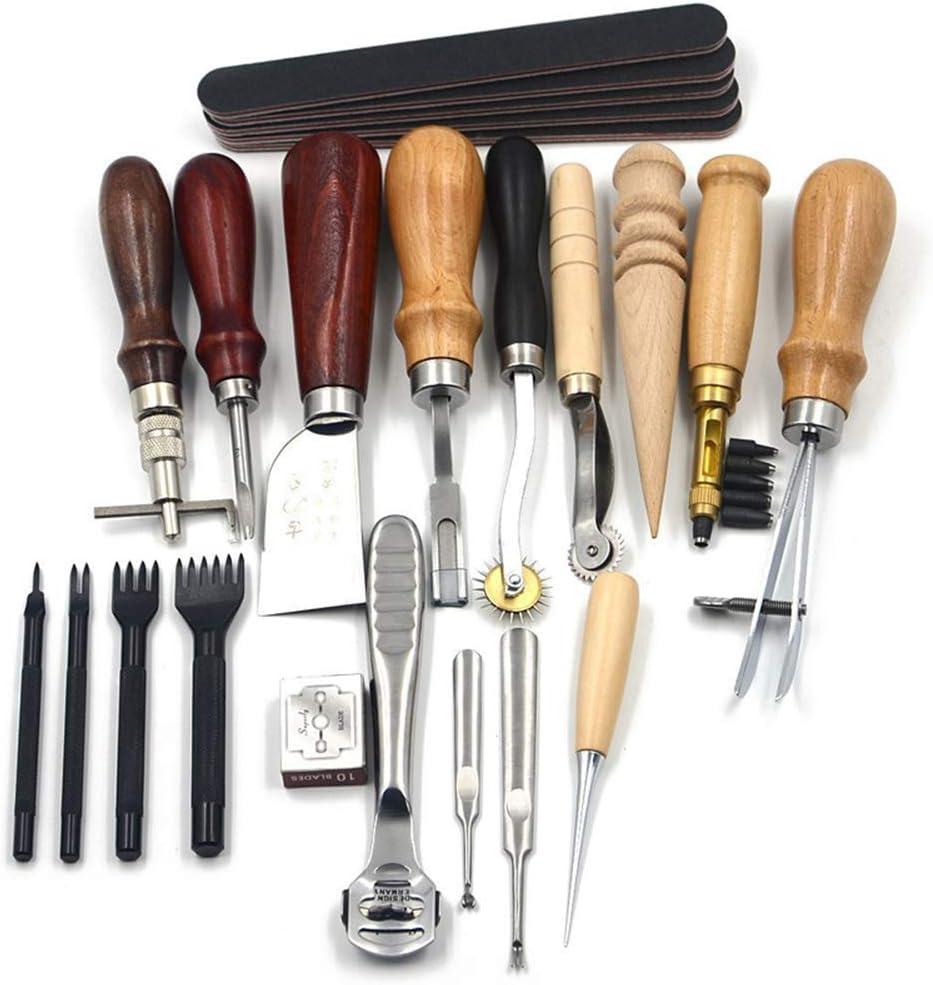 Herramientas de Cuero Kit 14Pcs Herramienta de Trabajo de Cuero Elaborar Punzonar Perforar Coser Mano Herramientas de Costura de Cuero Artesanía Manualidades DIY (Serie 1)