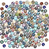 Aweisile 200 Pezzi Tessere Mosaico Cabochon in Vetro Mosaico Cabochons di Vetro Mosaico Perline Miste in Vetro Decorate per Fai-da-Te Artigianato Fabbricazione di Gioielli