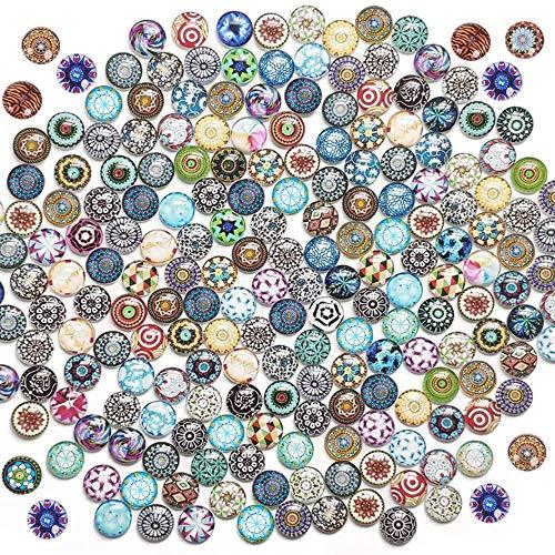 Aweisile 200 Piezas Cabujones de Cristal Cabujón Mosaico Cabujón Vidrio Mosaico Piedras de Guijarros Decorativos para DIY Colgantes Foto Joyería Fabricación Manualidades