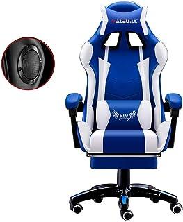 Sebasty Gaming Silla con altavoces Bluetooth, respaldo alto ajustable Silla Silla de juegos Electronic Sports adulto con el reposapiés, Deber ergonómico Oficina Escritorio de la computadora silla blan
